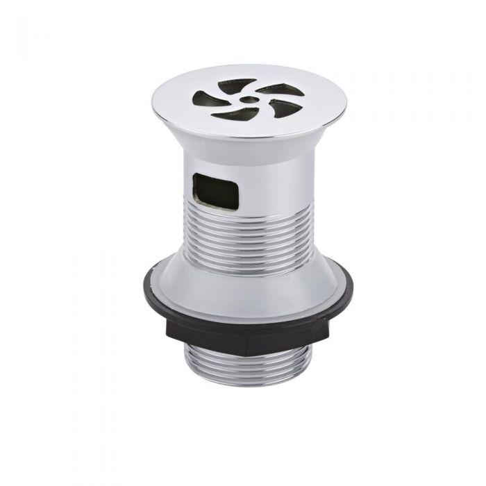 Válvula de Desagüe con Flujo Libre en Acero Cromado Para Lavabos con Rebosadero