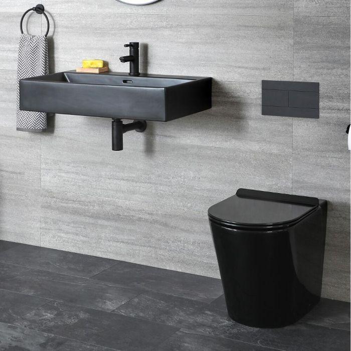 Set de Baño Moderno Negro con Inodoro Adosado y Lavabo Suspendido - Nox