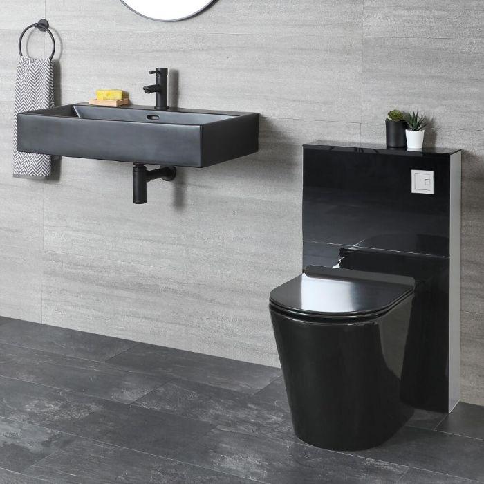 Set de Baño Moderno Negro con Mueble de WC con Inodoro Adosado y Lavabo Suspendido - Nox
