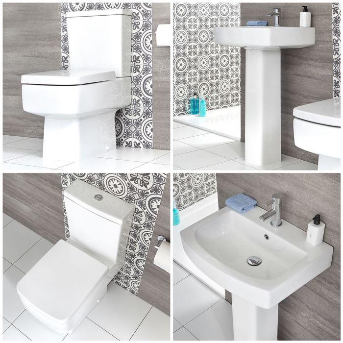 Conjunto para Baño Moderno Completo con Inodoro Adosado y Lavabo con Pedestal -  Exton