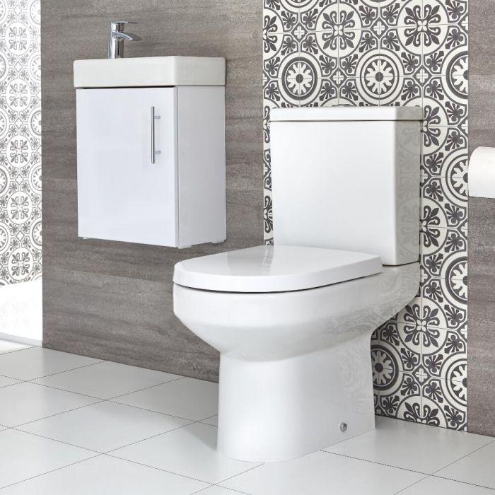Conjunto de Baño Covelly Completo con Mueble de Lavabo Suspendido de 400mm e Inodoro Monobloque - Selección de Acabados