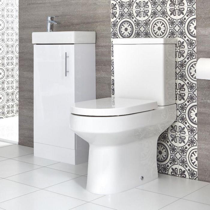 Conjunto de Baño Covelly Completo con Mueble de Lavabo a Suelo de 400mm e Inodoro Monobloque - Selección de Acabados