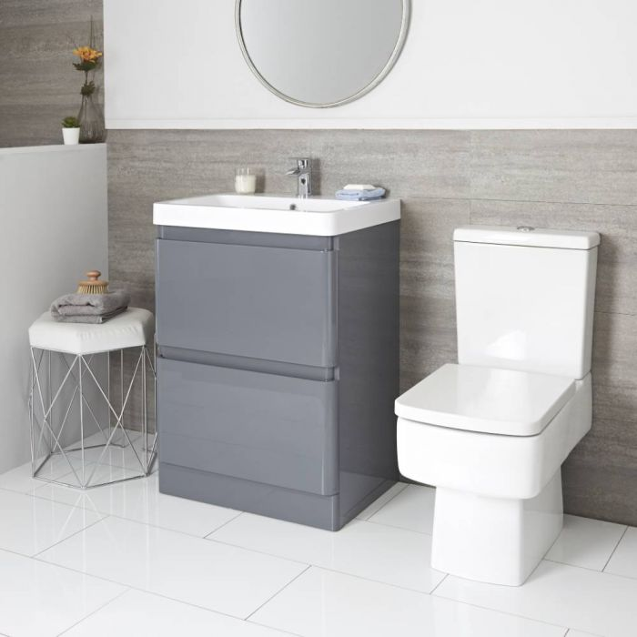 Conjunto de Baño Moderno de 600mm Completo con Mueble de Lavabo e Inodoro Monobloque Gris - Daxon