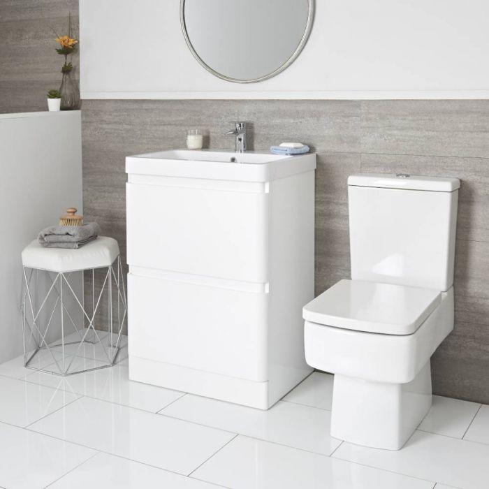 Conjunto de Baño Moderno de 600mm Completo con Mueble de Lavabo e Inodoro Monobloque Blanco - Daxon