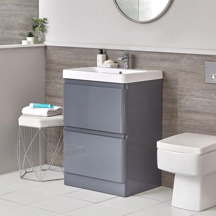 Conjunto de Baño Moderno de 600mm Completo con Mueble de Lavabo Gris e Inodoro Adosado  Daxon