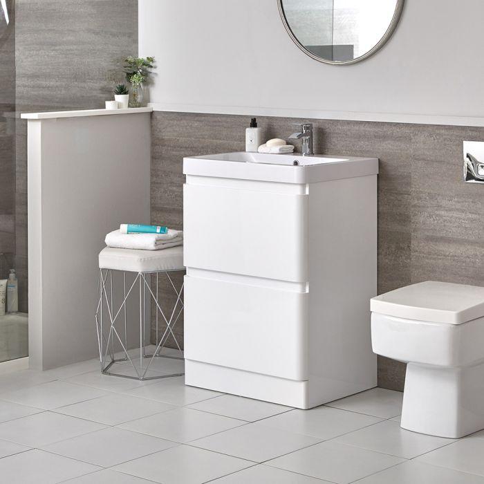 Conjunto de Baño Moderno de 600mm Completo con Mueble de Lavabo e Inodoro Adosado Blanco - Daxon