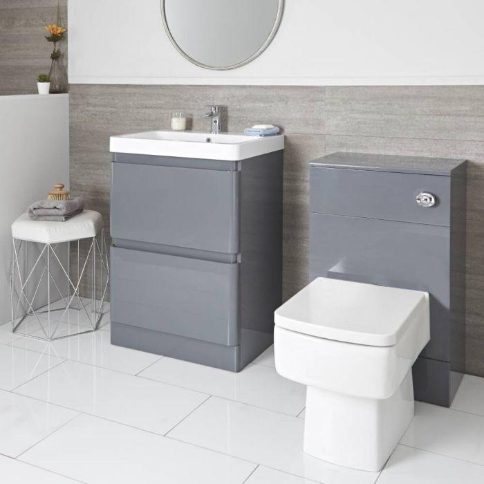 Conjunto de Baño Moderno Gris de 600mm Completo con Mueble de Lavabo y Mueble de WC con Inodoro Adosado Blanco - Daxon