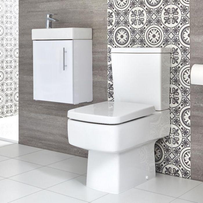Conjunto de Baño Exton Completo con Mueble de Lavabo Suspendido de 400mm e Inodoro Monobloque - Selección de Acabados