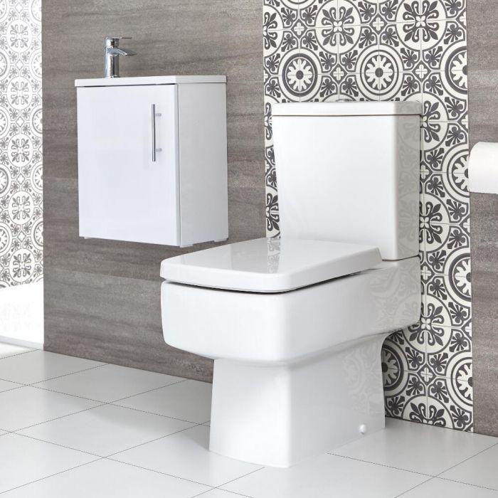 Conjunto de Baño Exton Completo con Mueble de Lavabo Suspendido de 400mm con Lavabo Compacto e Inodoro Monobloque - Selección de Acabados