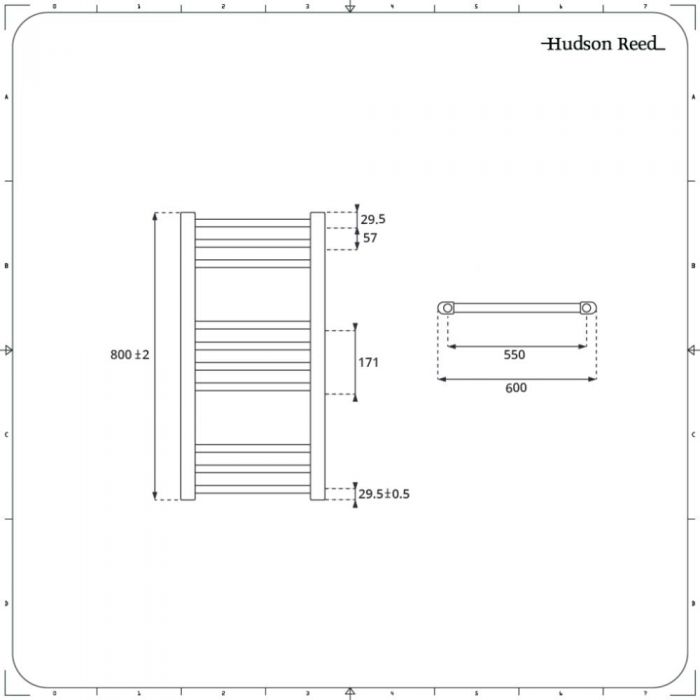 Radiador Toallero Mixto - Blanco Plano - 800mm x 600mm - Ive