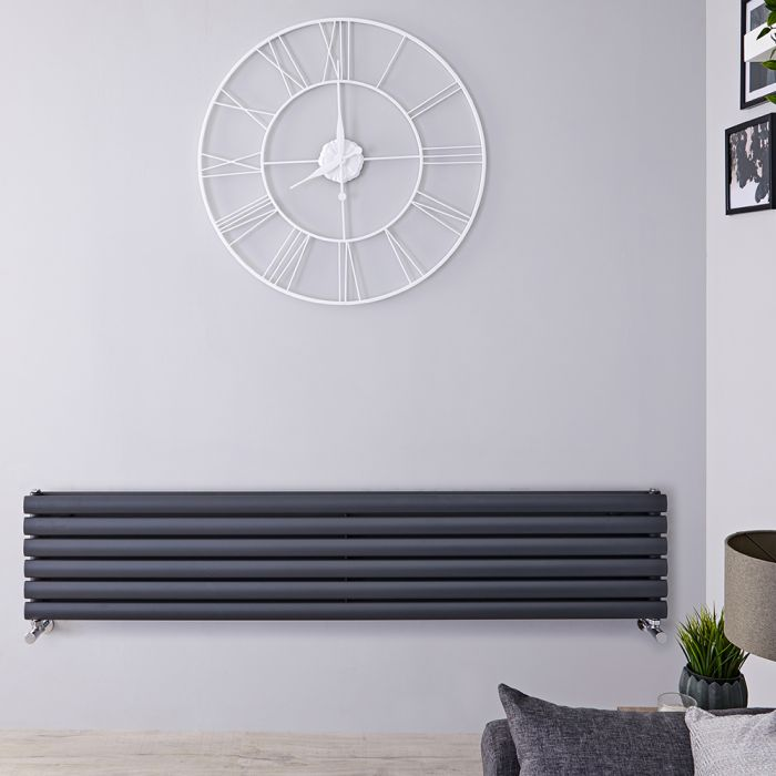 Radiador de Diseño Horizontal Doble - Antracita - 354mm x 1600mm x 78mm - 1100 Vatios - Revive