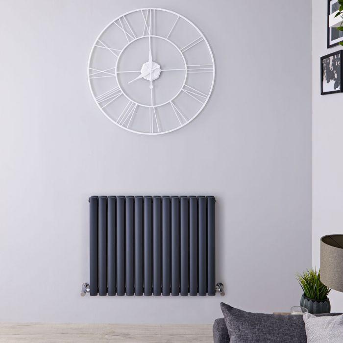 Radiador de Diseño Horizontal Doble - Antracita - 635mm x 834mm x 78mm - 1304 Vatios - Revive