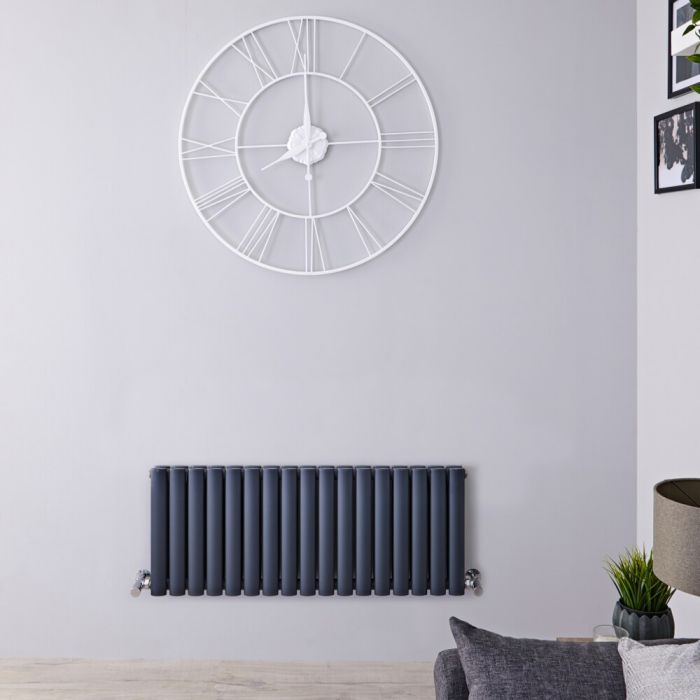 Radiador de Diseño Horizontal Doble - Antracita - 400mm x 1000mm x 78mm -1052 Vatios – Revive