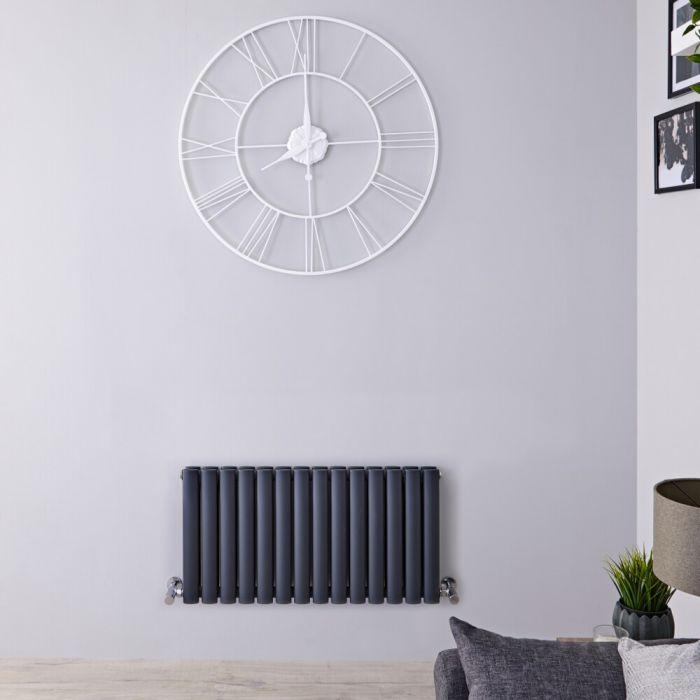 Radiador de Diseño Horizontal Doble - Antracite - 400mm x 826mm x 78mm - 866 Vatios – Revive