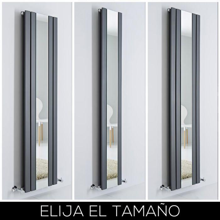 Radiador de Diseño Antracita Vertical con Espejo - Sloane - Disponible en Distintas Medidas