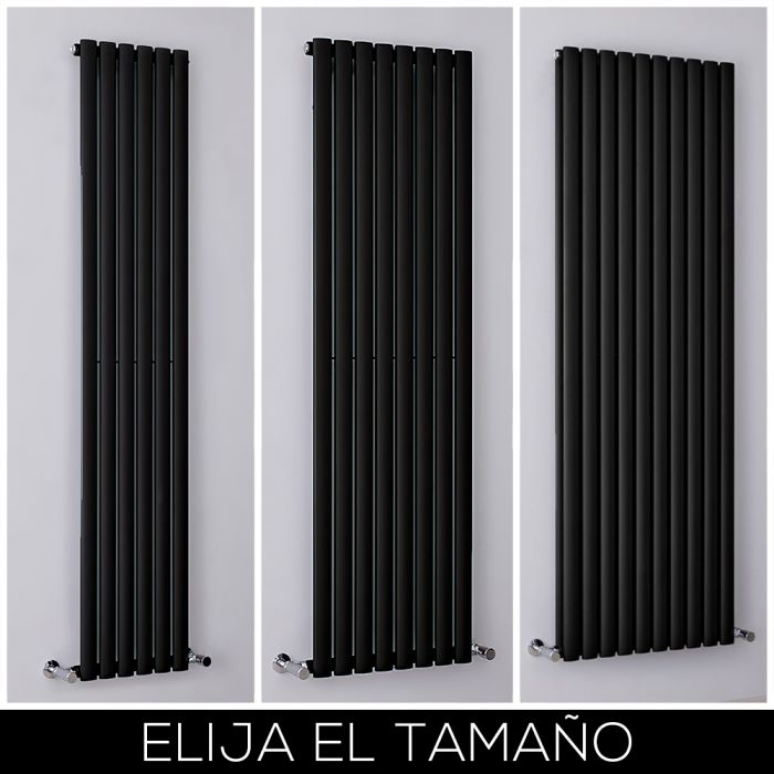 Radiador de Diseño Vertical Negro Mate Disponible en Distintos Tamaños -  Revive