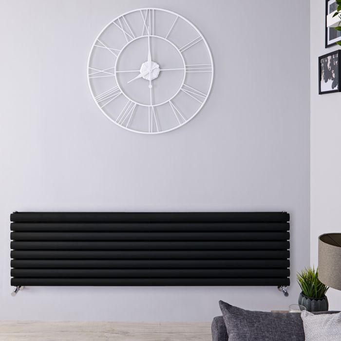 Radiador de Diseño Horizontal Doble - Negro Mate - 472mm x 1600mm x 78mm - 1611 Vatios - Revive
