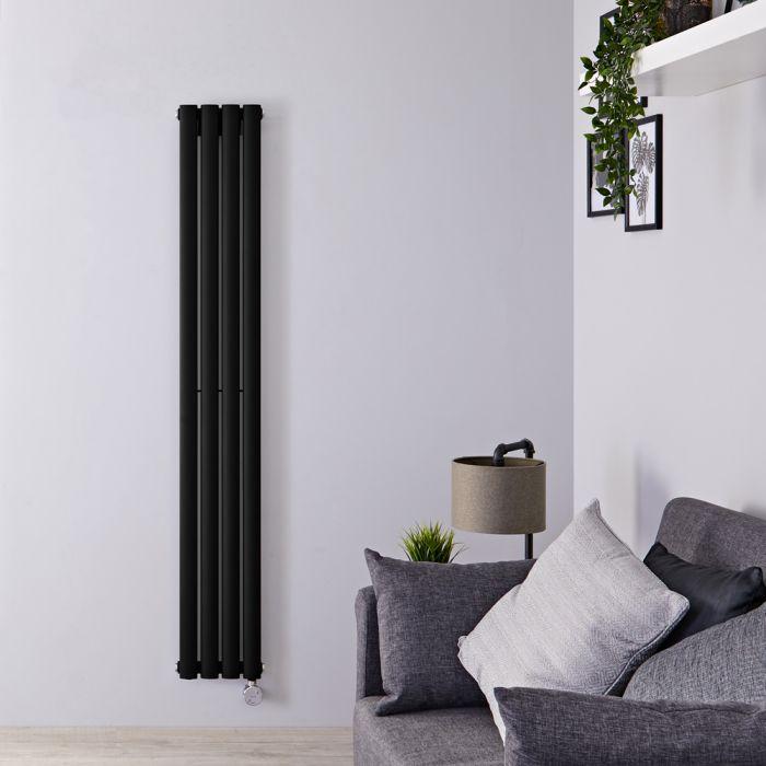 Radiador de Diseño Eléctrico Vertical - Negro Opaco - 1600mm x 236mm x 56mm - Elemento Termostático de 800W - Revive
