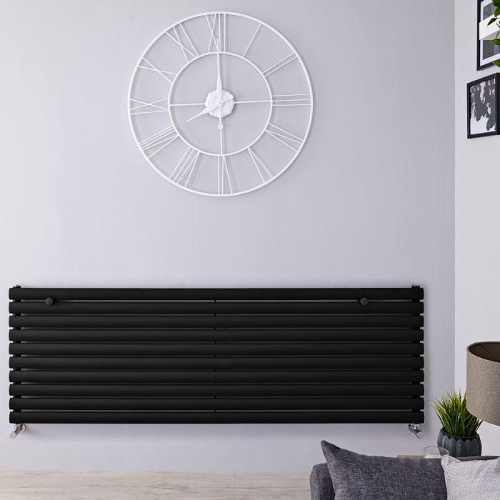 Radiador de Diseño Horizontal - Negro Mate - 590mm x 1600mm x 55mm - 1298 Vatios - Revive