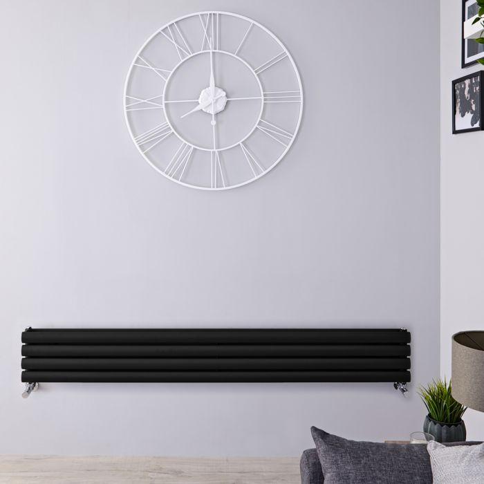 Radiador de Diseño Horizontal Doble - Negro Lúcido - 236mm x 1600mm x 78mm - 814 Vatios - Revive