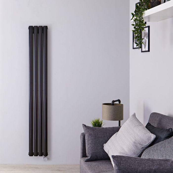 Radiador de Diseño Eléctrico Vertical Doble - Negro Mate - 1600mm x 236mm x 78mm - 1 Elemento de 1200W - Revive
