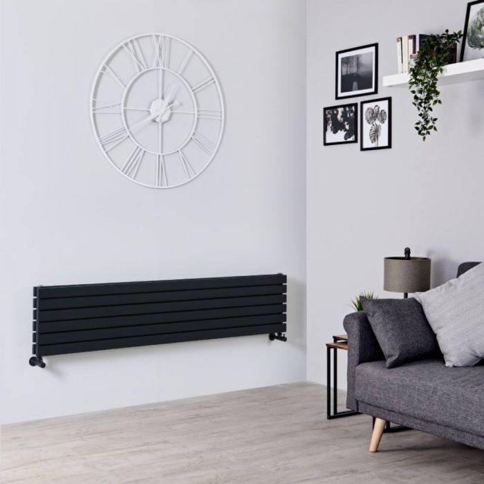 Radiador de Diseño Horizontal Doble - Negro Lúcido - 354mm x 1600mm x 74mm - 1308 Vatios - Sloane