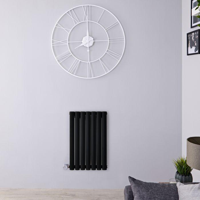 Radiador de Diseño Eléctrico Horizontal - Negro Mate - 635mm x 413mm x 55mm - Elemento Termostático de 400W - Revive