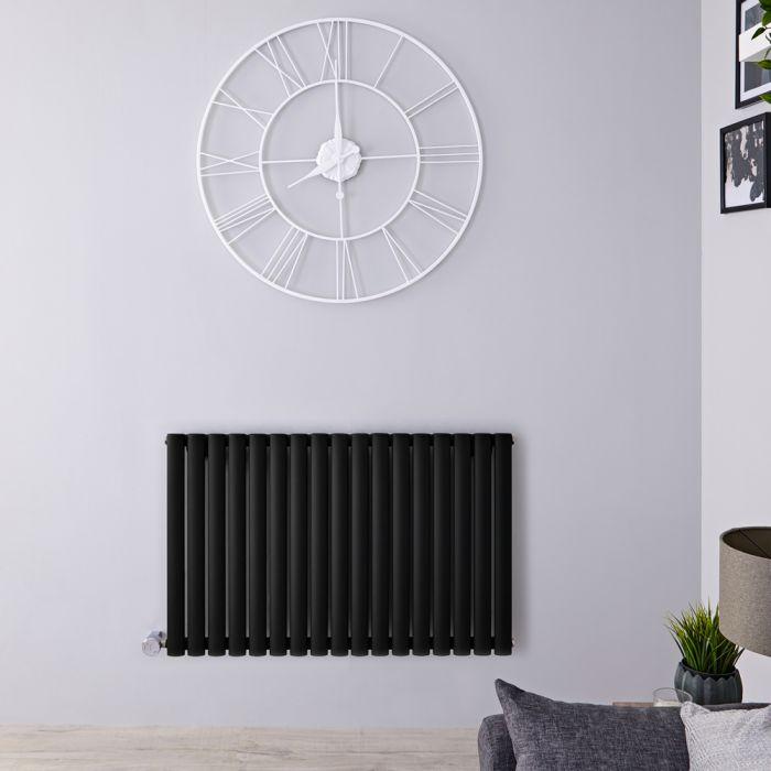 Radiador de Diseño Eléctrico Horizontal - Negro Opaco - 635mm x 1000mm x 55mm - Elemento Termostático de 1000W - Revive
