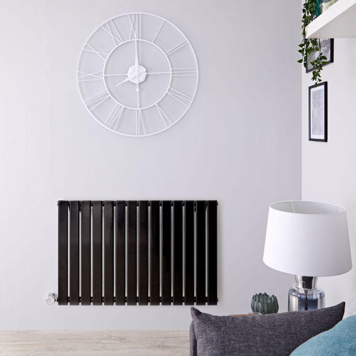 Radiador de Diseño Eléctrico Horizontal - Negro Lúcido - 635mm x 980mm x 46mm - Elemento Termostático de 800W - Delta