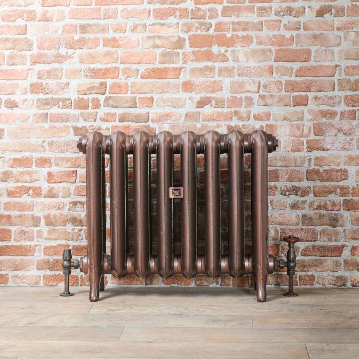 Radiador de Diseño Tradicional de 560mm de Hierro Fundido - Columnas Ovales - Color Cobre Antiguo - Erté - Disponible en Varias Medidas