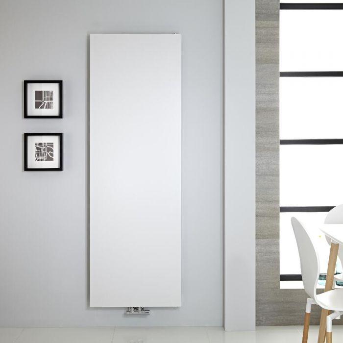 Radiador de Diseño Vertical - Panel Plano - Conexión Central - Blanco - 1800mm x 600mm - 1404 Vatios – Rubi
