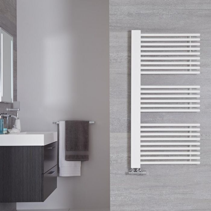 Radiador Toallero de Diseño Vertical - Color Blanco Mineral - 1190mm x 600mm - 667 Vatios - Bosa