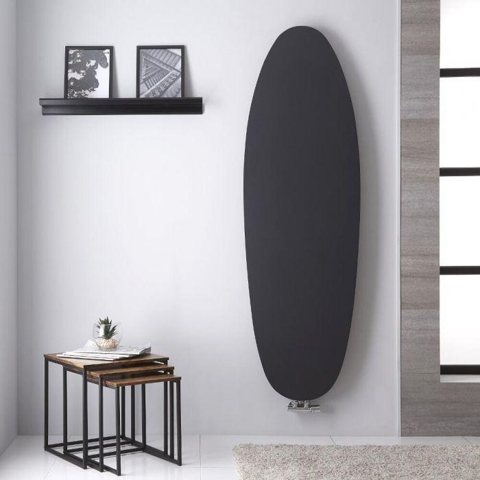 Radiador de Diseño Vertical - Panel Plano Oval - Conexión Central - Color Antracita - 1728mm x 535mm - 896 Vatios - Sovana