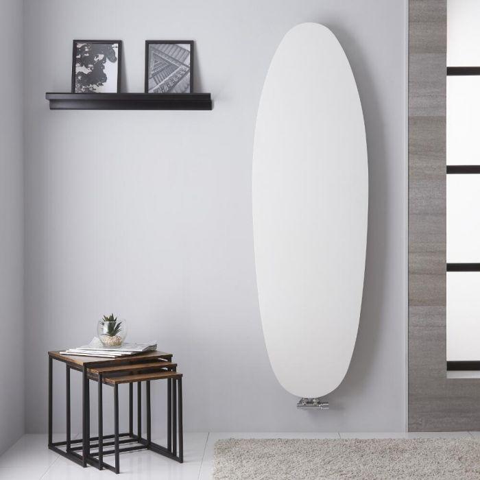 Radiador de Diseño Vertical - Panel Plano Oval - Conexión Central - Color Blanco Mineral - 1728mm x 535mm - 896 Vatios - Sovana