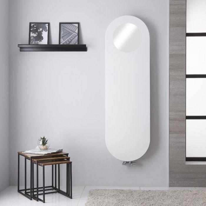 Radiador de Diseño Vertical - Panel Plano con Espejo - Conexión Central - Blanco Mineral - 1595mm x 490mm - 729 Vatios – Vulcano