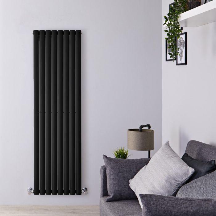 Radiador de Diseño Vertical - Negro Mate - 1600mm x 472mm x 56mm - 1121 Vatios - Revive