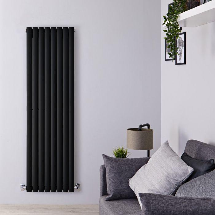 Radiador de Diseño Vertical Doble - Negro Opaco - 1600mm x 472mm x 78mm - 1638 Vatios - Revive