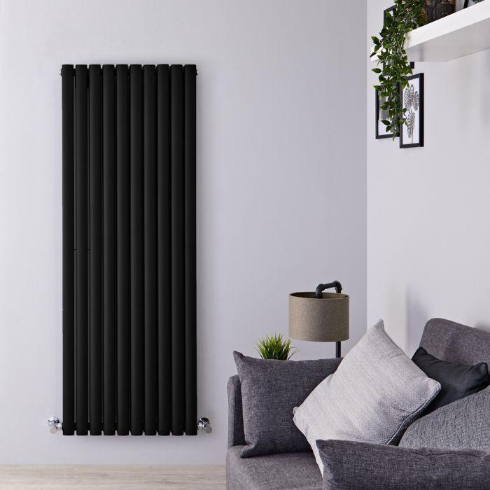Radiador de Diseño Vertical Doble - Negro Mate - 1600mm x 590mm x 78mm - 2273 Vatios - Revive