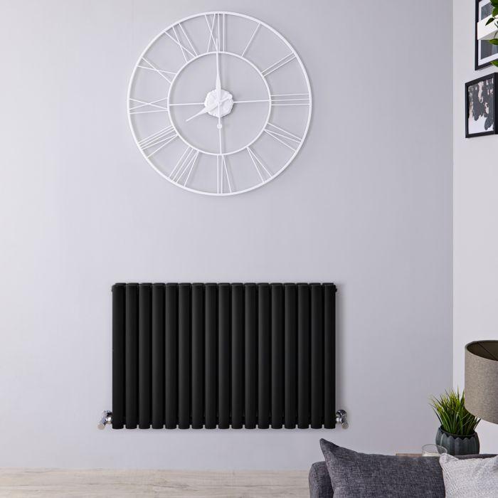 Radiador de Diseño Horizontal Doble - Negro Mate - 635mm x 1000mm x 78mm - 1583 Vatios - Revive