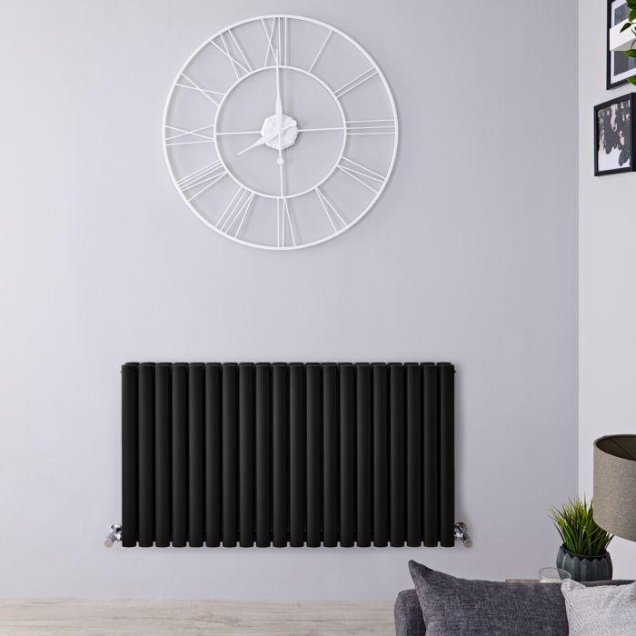 Radiador de Diseño Horizontal Doble - Negro Mate - 635mm x 1180mm x 78mm - 1863 Vatios - Revive