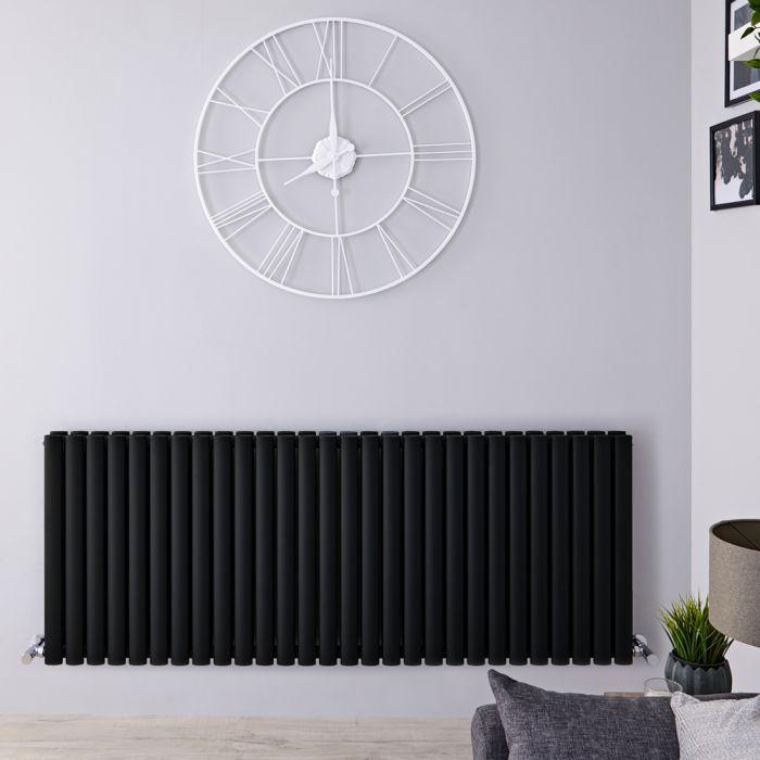 Radiador de Diseño Horizontal Doble - Negro Mate - 635mm x 1647mm x 78mm - 2608 Vatios - Revive