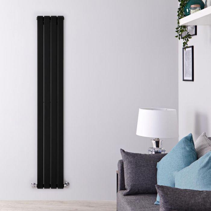 Radiador de Diseño Vertical Doble - Negro Mate  - 1600mm x 280mm x 60mm - 881 Vatios - Delta