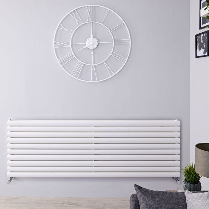 Radiador de Diseño Horizontal Doble - Blanco - 590mm x 1600mm x 56mm - 1881 Vatios - Revive