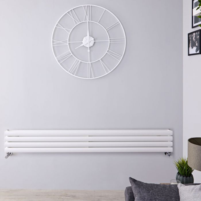 Radiador de Diseño Horizontal Doble - Blanco - 236mm x 1600mm x 56mm - 814 Vatios - Revive