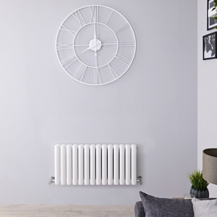 Radiador de Diseño Horizontal Doble - Blanco - 400mm x 826mm x 78mm - 964 Vatios - Revive