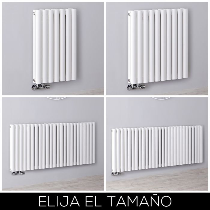 Radiador de Diseño Horizontal - Blanco - 635mm - Conexión Central - Disponible en Distintas Medidas - Revive Caldae