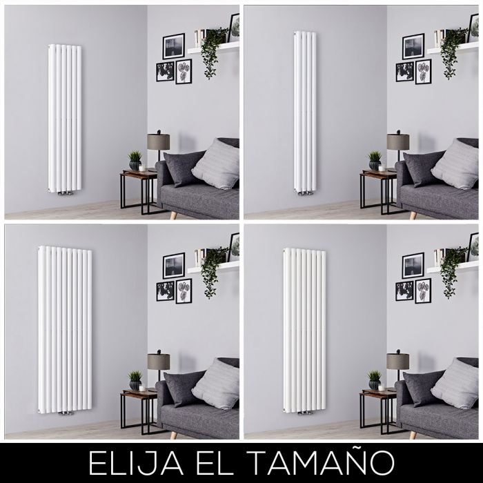 Radiador de Diseño Vertical - Blanco - Conexión Central - Disponible en Distintas Medidas - Revive Caldae