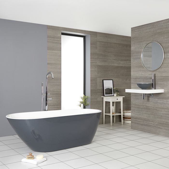 Bañera Exenta Moderna de Color Gris Piedra de 1670mm x 730mm – Witton