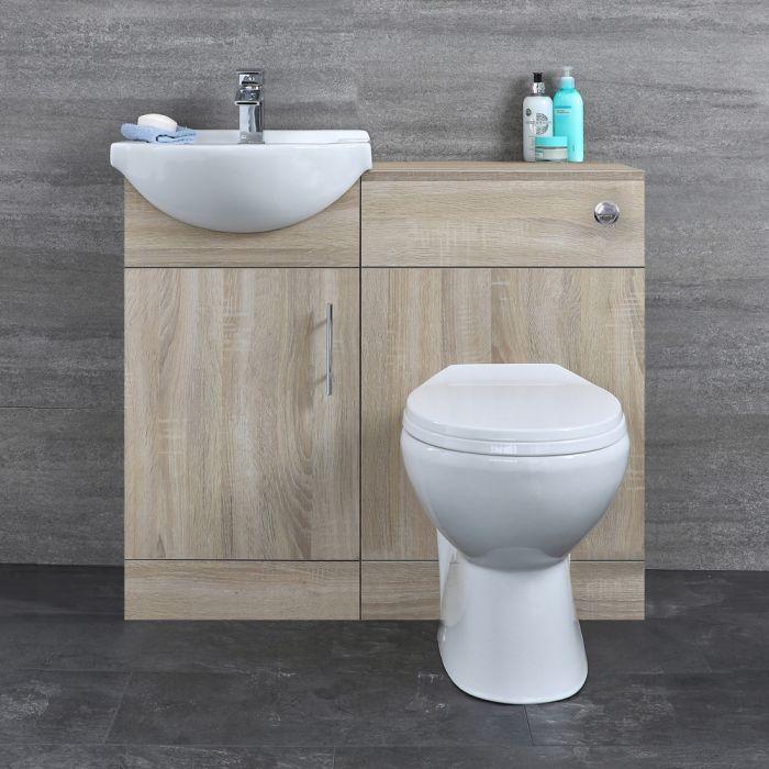 Mueble para Cuarto de Baño con Lavabo e Inodoro de Careámica Integrados y Mueble de MDF Efecto Roble 932x835x820mm - Classic Oak