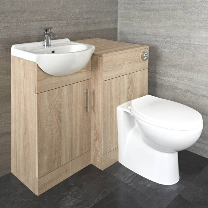 940mm Oak Vanity and WC Combination Unit with Pan and Cistern
